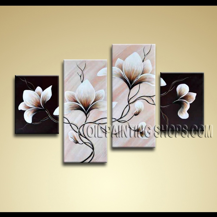 Large Contemporary Wall Art Hand-Painted Art Paintings For Bath Room Tulip Flowers. This 4 panels canvas wall art is hand painted by Anmi.Z, instock - $136. To see more, visit OilPaintingShops.com