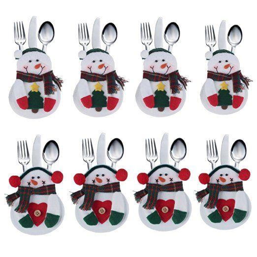 DegGod von 8 Christmas Schneemann -Klage Weihnachten Besteckhalter Taschen