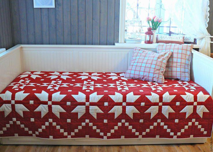 Купить Лоскутное одеяло Красное пэчворк - ярко-красный, лоскутное одеяло…