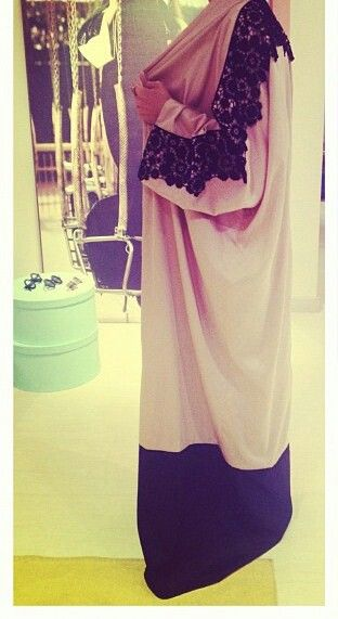 Pink satin n black lace abaya