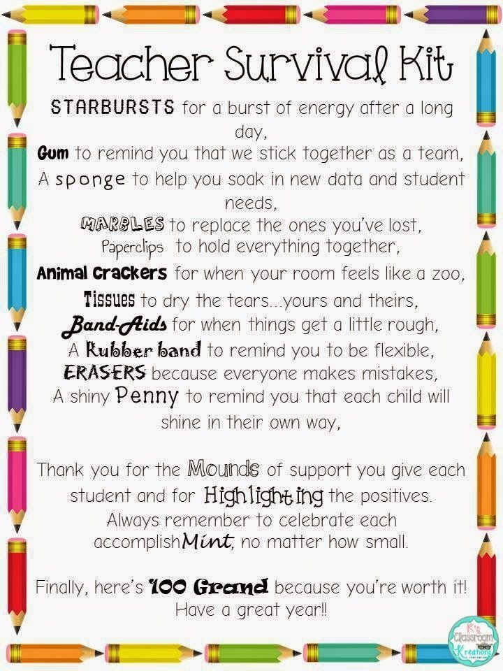 Back to School Freebie: Teacher Survival Kit ideas and letter. Great for grade level teams or beginning teacher gifts.: