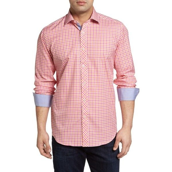 Men's Bugatchi Classic Fit Check Sport Shirt ($149) ❤ liked on Polyvore featuring men's fashion, men's clothing, men's shirts, men's casual shirts, coral, bugatchi mens shirts, mens checked shirts, mens classic fit shirts, mens sports t shirts and mens chambray shirt