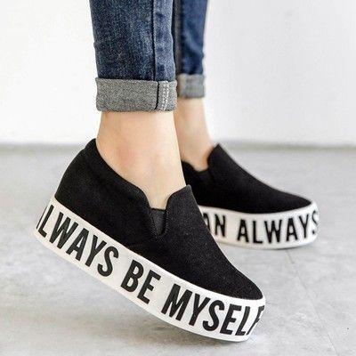 2015 mujeres de moda casual zapatos de lona cartas plataforma pisos mujeres negro perezoso zapatos carta, envío gratis(China (Mainland))