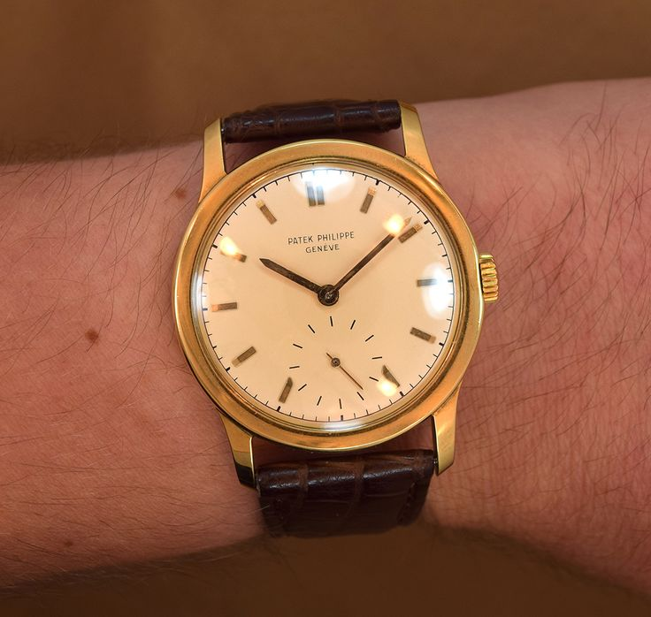 Wow! A 1940s era Patek Phillippe Ref. 2449. This 35mm, 18K Yellow Gold timepiece features an original silver dial with applied gold bar markers, a manual-wind caliber 12 - 120 movement and comes strapped with a new, Italian hand-made Alligator watch strap. (Store Inventory # 8371, listed at $12000). #patekphilippe #patek #gold #2449 #gold #18k #wristwatches #mens #watch #classic #wristwatch #vintage #watches #timepiece #stawc