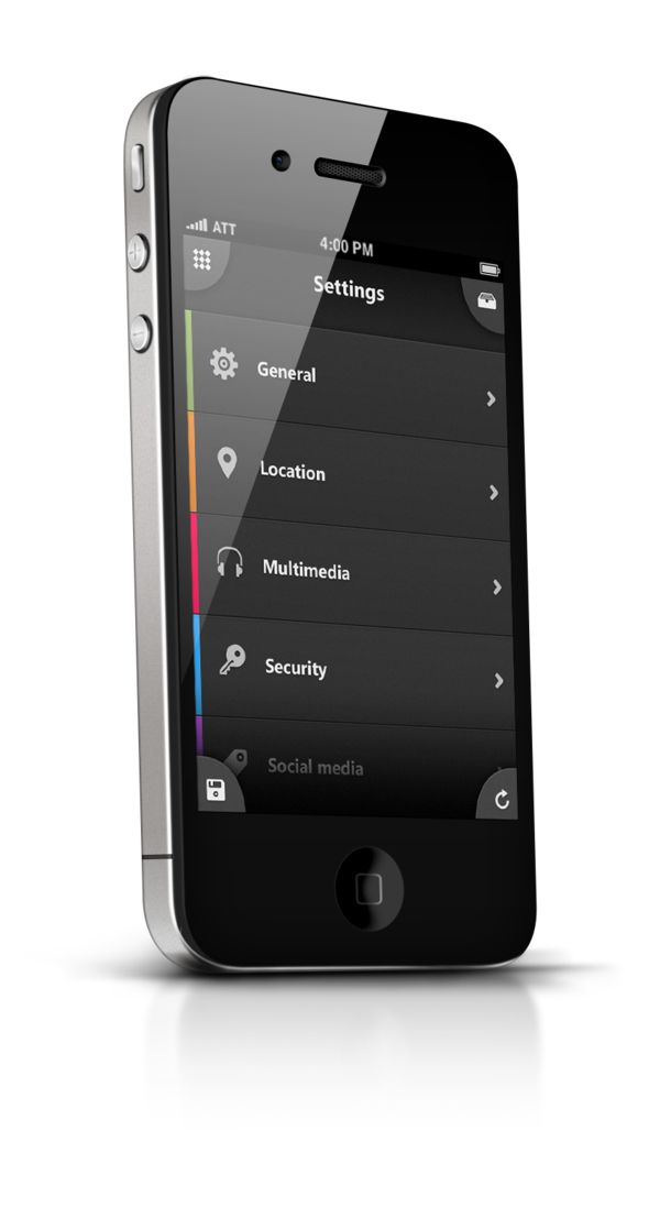 Corner buttons. Nice.  Phone UI Retina - Apocalipse by Ismail MESBAH, via Behance