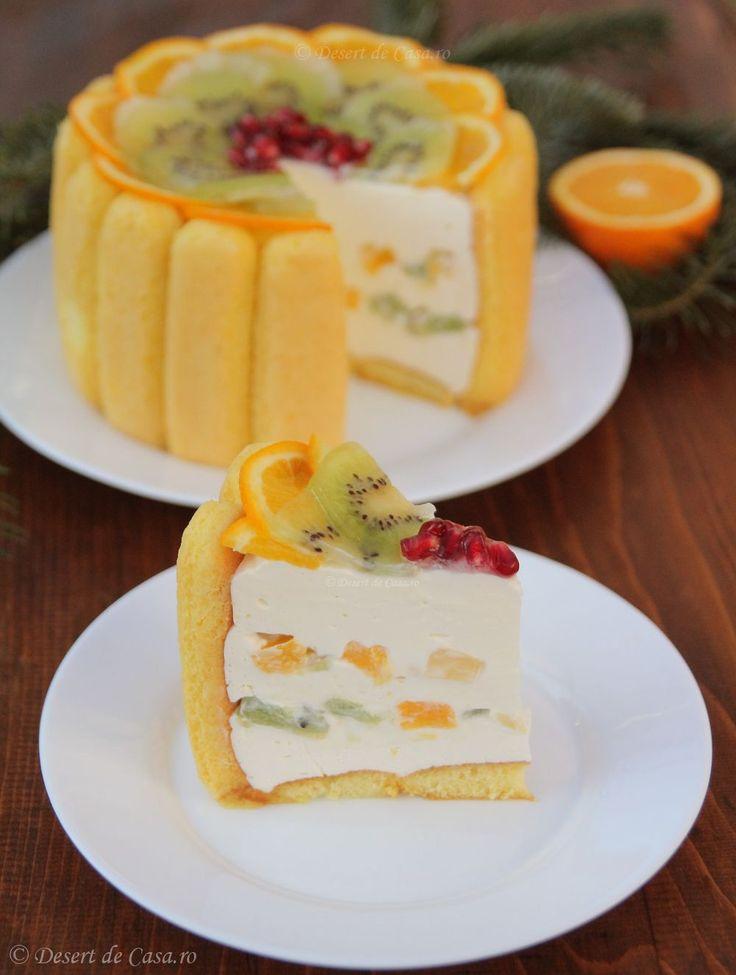 Cel mai bun tort ! Crema fina si aromata , fructe delicioase si piscoturi pufoase . Un desert fara coacere si la mare cautare !