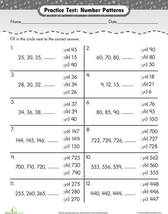 Worksheets: Practice Test: Number Patterns