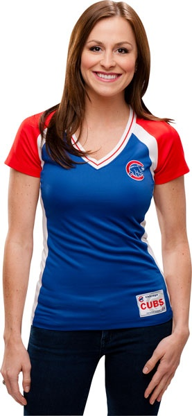 NEW ARRIVAL: Chicago Cubs Royal Blue Women's Opal Synthetic T-Shirt by Majestic
