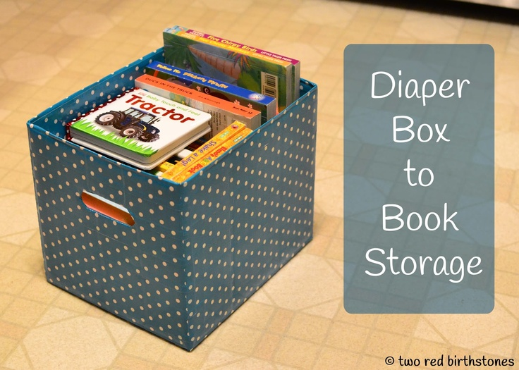 two red birthstones: Diaper Box to Cute Storage Box