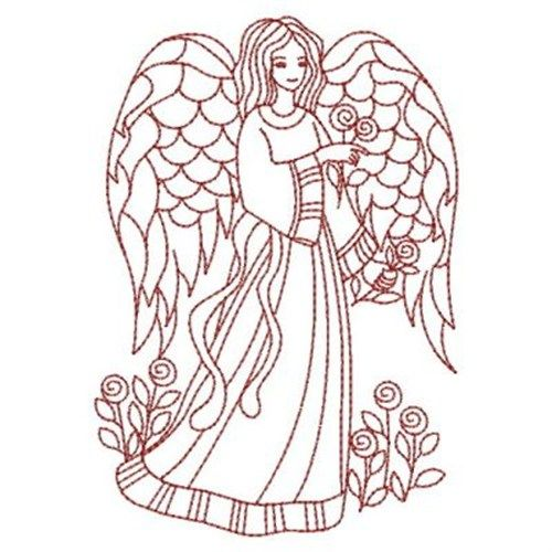 Sweet Heirloom Embroidery Design: Redwork Love Angel 3.80 inches H x 2.66 inches W