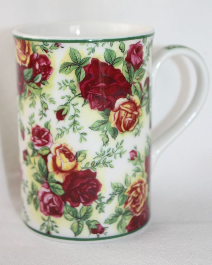 Royal Albert Coffee Mug Cup. -Pattern: Old Country Roses Afternoon Tea II Fine China Cup. -Beautiful floral pattern of Red & Pink Roses. | eBay!