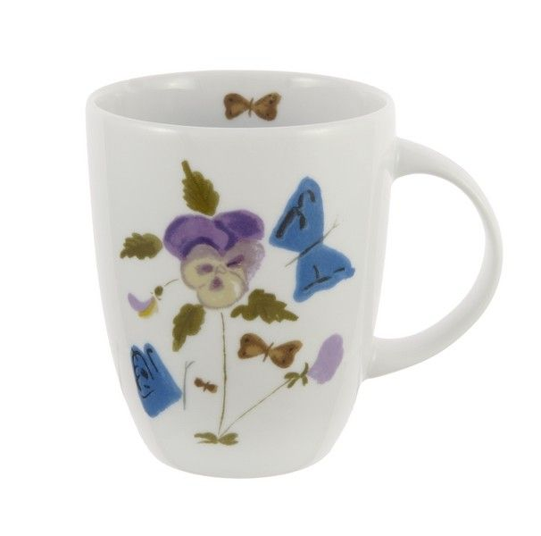 Mug with Y.Tsarouchis work - Pansies and butterflies, 1953-1978  Benaki Museum - Yannis Tsarouchis 1910-1989.     Applied on porcelain
