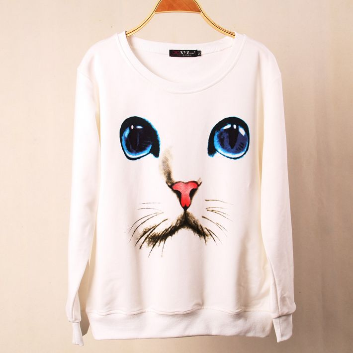 Cute cat long-sleeved round neck sweater AX30917ax