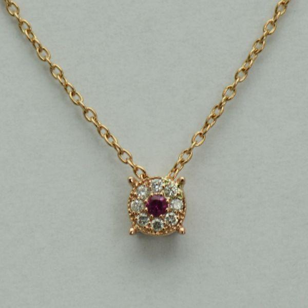 Lant si pandantiv din aur roz cu rubin si diamante