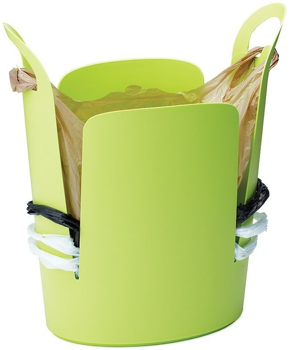 """Brilliant! Winner of the 2005 Pratt Product Design Competition, this clever trash can allows you to store and reuse the plastic bags that you collect from shopping in a neat, organized way. Simply loop trash bags around the cut-out sides and push them all the way down, creating a visual of stacked handles all along the side. When you are ready to use one, just move it up to the handles and hook so that it won't fall in on itself. Recycled polypropylene. 16""""L x 8""""W x 18""""H…"""