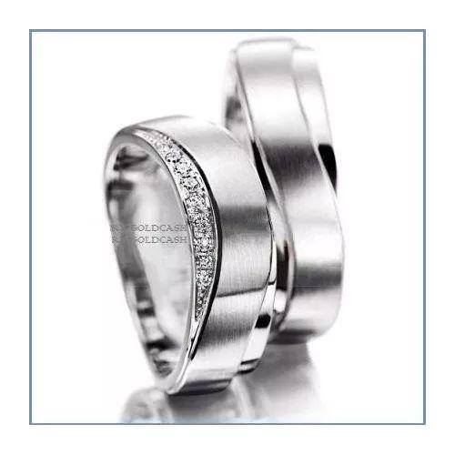 Argollas De Matrimonio Mod. Zeus En Oro Blanco 10k Solido - $ 4,800.00