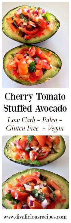Cherry Tomato Stuffed Avocado This stuffed avocado recipe uses cherry tomatoes to make a bright and colourful dish. Served with a side salad it makes a refreshing and healthy lunch. Recipe - http://divaliciousrecipes.com/2014/01/23/cherry-tomato-stuffed-