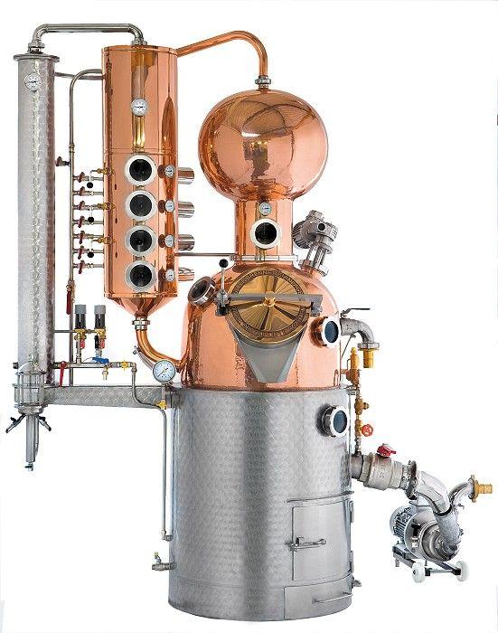 Müller GmbH, Pot Stills Distillery Units – AROMA III, Pot Stills Distillery Units, Alembics Potstill, Specialties Distilleries, Specialty Distillery, ballshaped Helmet, Column, Bell plates, Waterbath, Exhaust gas Heat exchanger, Water-jet driving equipment, Boil-over gadget, Agitator