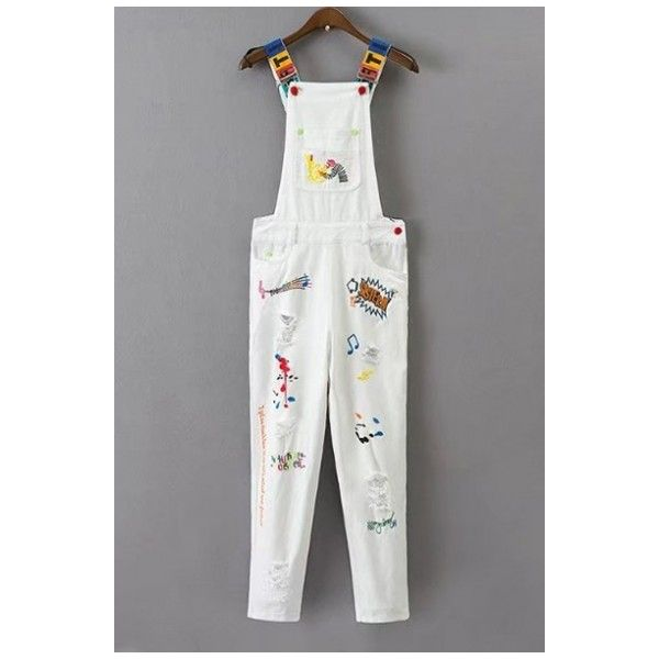 Fashion Cartoon Letter Graffiti Embroidered Ripped Out Denim Overall... (625.805 IDR) ❤ liked on Polyvore featuring jumpsuits, bib overalls, denim bib overalls, denim jumpsuit, embroidered overalls and overalls jumpsuit