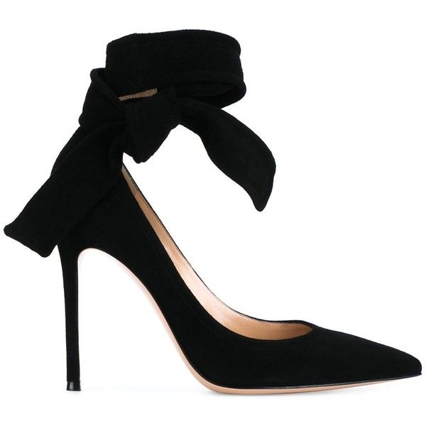 Gianvito Rossi Black Decolletè (€335) ❤ liked on Polyvore featuring shoes, pumps, heels, bow pumps, stiletto pumps, heels stilettos, pointy toe pumps and black stiletto pumps