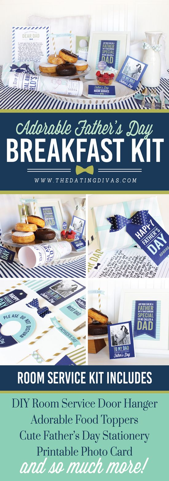 I am in LOVE with this Breakfast in Bed Kit for Dad for Father's Day! This pack has everything - a cute door hanger, food toppers, and gifts! - www.TheDatingDivas.com