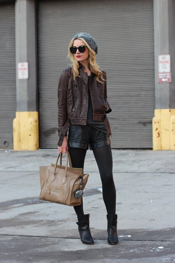 Blair in leather x leather. Obsessed.