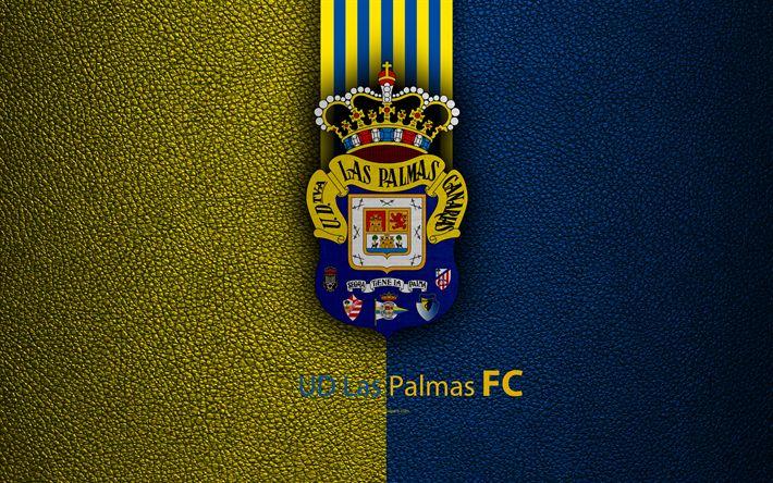 Download wallpapers UD Las Palmas FC, 4K, Spanish football club, La Liga, logo, emblem, leather texture, Las Palmas de Gran Canaria, Spain, football