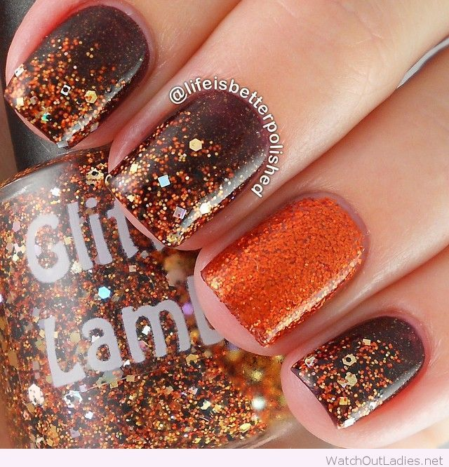 Orange and brown glitter nail polishes