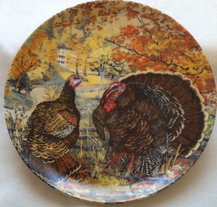 "Vintage ""The Wild Turkey"" Collector Plate Wildlife Society Upland Birds"
