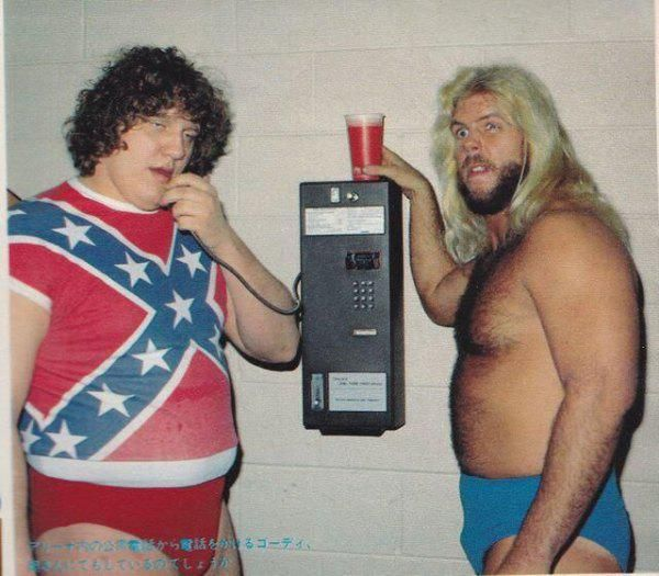 Terry Gordy and Michael Hayes from The Freebirds making a collect call (presumably to Buddy Roberts)