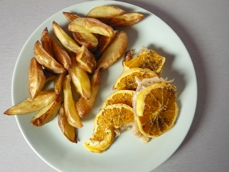Cod with oranges and roasted potatoes