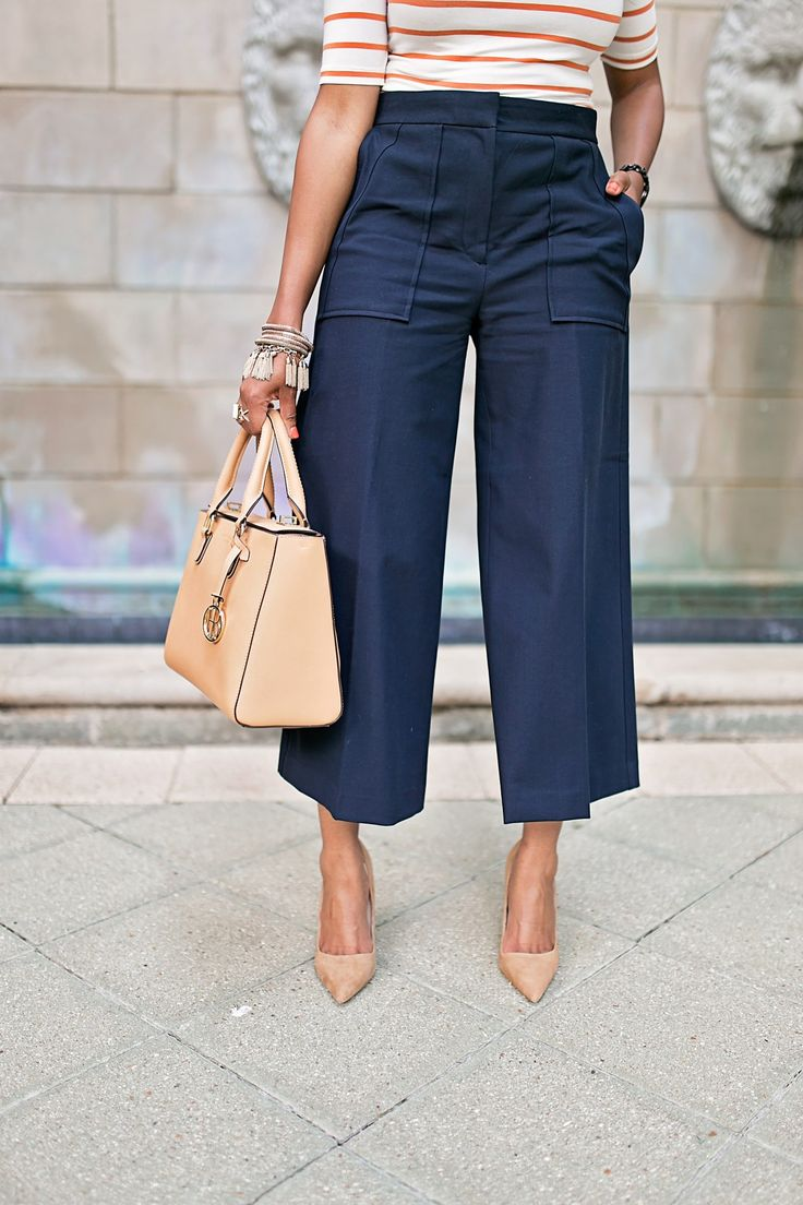 HOW TO WEAR CULOTTES, THE PERFECT CULOTTES, WORKWEAR FASHION, WHAT TO WEAR TO WORK, HENRI BENDEL TURNLOCK BAG, NUDE SUEDE PUMPS