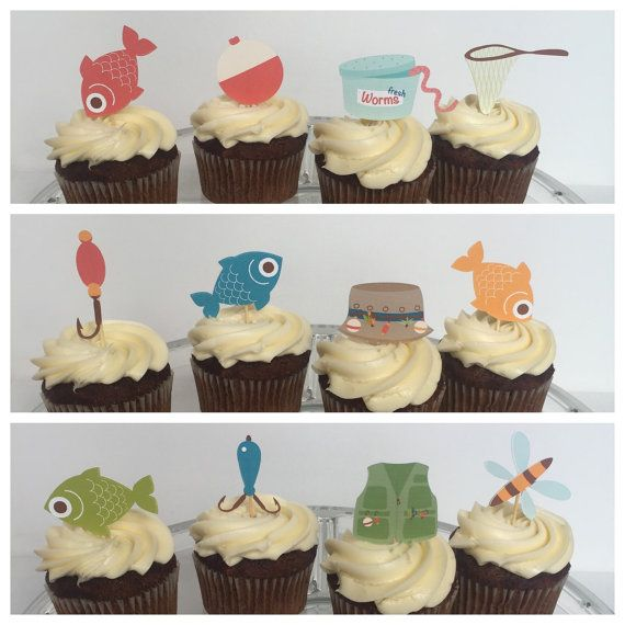 Cupcake toppers fishin party Etsy listing at https://www.etsy.com/listing/271228915/12-gone-fishing-cupcake-toppers