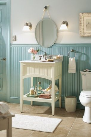 "Cottage Powder Room with Signature hardware 24"" seaside vanity, Wainscotting, Wall sconce, Console sink, Complex Marble"