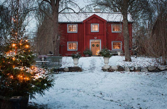 STÄMNINGSFULLT OCH TRADITIONELLT - HÄR VILL MAN FIRA JUL:Här börjar julen redan vid första advent. Då ställs pyntet fram i röda stugan på Selaön i Mälaren. Det får sedan vara kvar till tjugondag Knut – allt för att kunna njuta så länge som möjligt. Julen när det är som mysigast, traditionellt, varmt och mysigt | Sköna Hem - av Johanna Flyckt-Gashi, foto Lina Östling