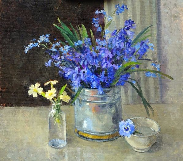 """Bluebells and Forget-me-nots"""" (597x525, 401Kb)"""