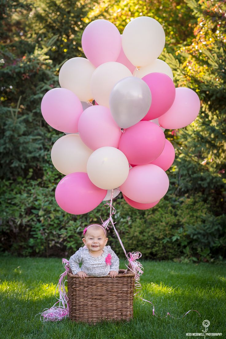 Girls First Birthday Cake With Balloons