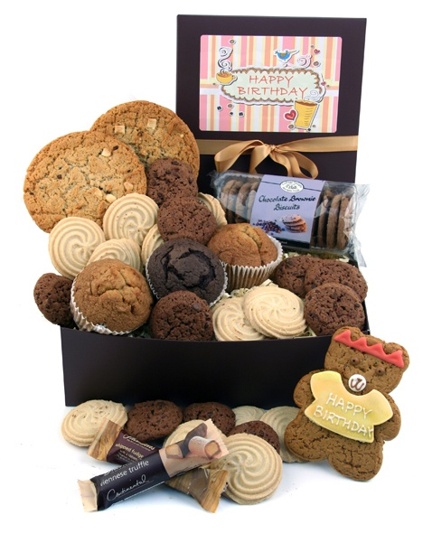 Happy Birthday Hamper! - filled with delicious chocolate treats and a Happy Birthday cookie!