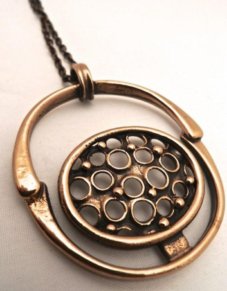 Jorma Laine for Turun Hopea, Vintage bronze pendant, 1970's. #Finland | Koruvuokraamo.fi