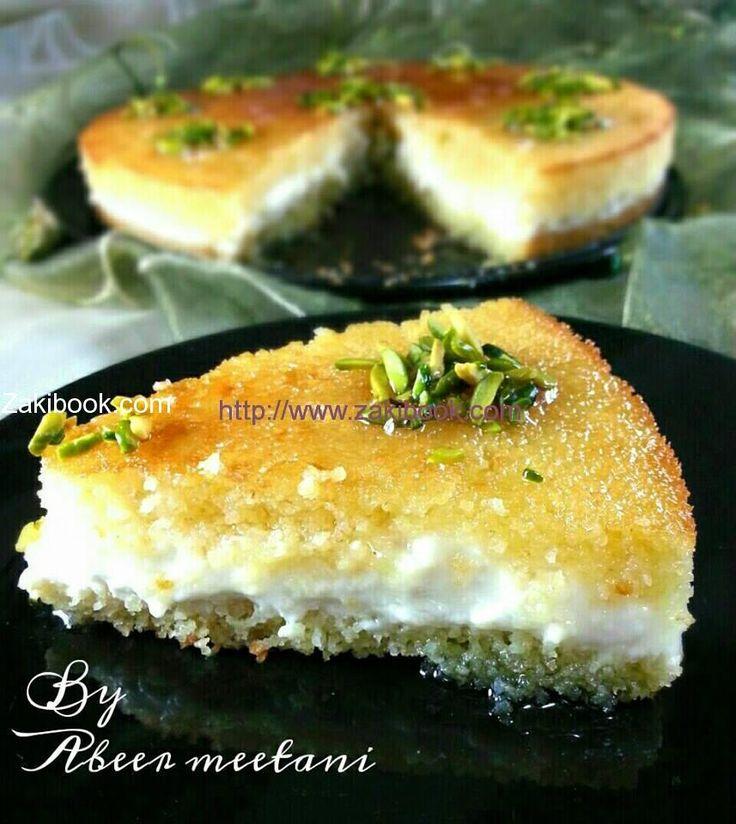 بسبوسة بالقشطة سهلة للعزايم زاكي Arabic Sweets Recipes Arabic Sweets Lebanese Desserts