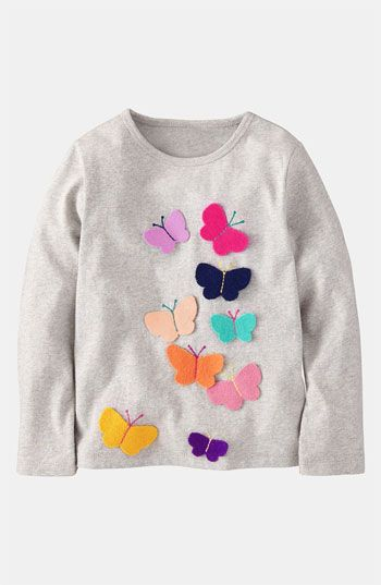 Mini Boden 'Fluttery Appliqué' Tee (Toddler, Little Girls  Big Girls)   Nordstrom