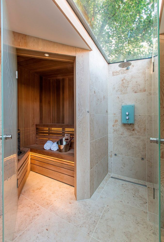 Sauna and glass roof shower | The Garden Room | Folio Design