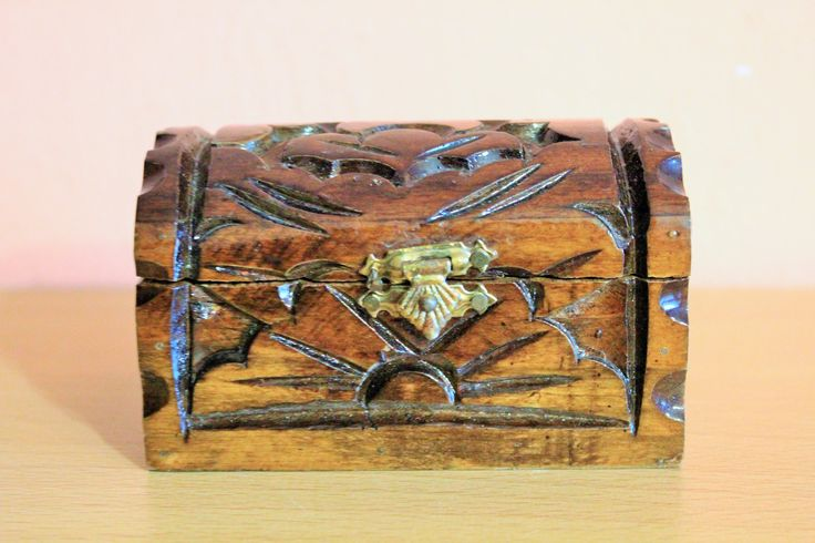 Vintage Wooden Jewelry Box, Ring Box, Carved Wood Storage, Folk Art by Grandchildattic on Etsy