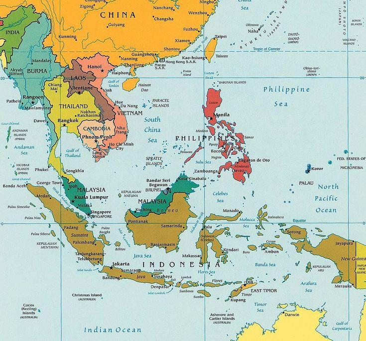 Negara Kepulauan Di Asia Tenggara | Peta Asia Tenggara
