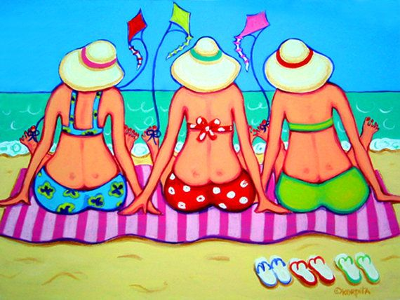 Colorful Beach Folk Art Whimsical Ocean Seashore Women 9x12 Glicee Print - Kite…