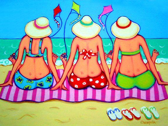 Rebecca Korpita ~ Kite Flying 101 ~ Three women friends enjoy the beach while flying kites from their big toes