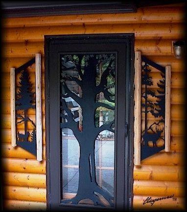 Clingermans deer pinetree window shutters-rustic log cabin decor-whitetail deer