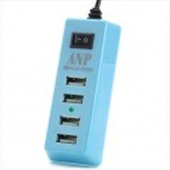 Portable USB 4-Port US Plug Power Charger for Tablets / Cellphone / PSP - Light Blue + Black