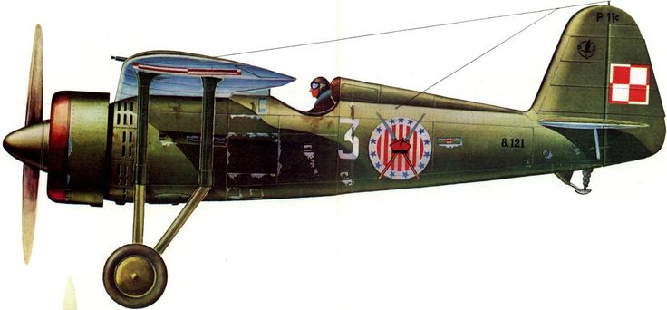 PZL P.11c – polski samolot myśliwski. 111 Eskadra Myśliwska, III/1 Dywizjon Myśliwski, Brygada Pościgowa, wrzesień 1939. Rys. Don Greer.