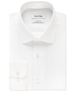 Calvin Klein Steel Men's Big & Tall Classic-Fit Non-Iron Herringbone Dress Shirt - White 17 35/36